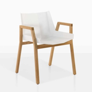 elements outdoor dining arm chair white teak aluminum
