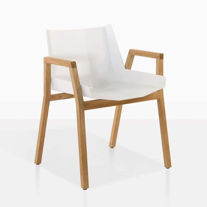 elements outdoor dining arm chair white teak aluminium