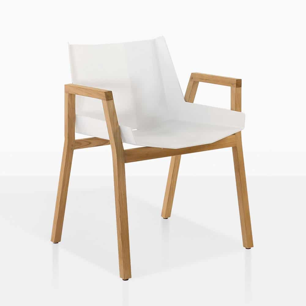 Teak Wood Dining Table White Powder Coated Legs White: Elements Dining Arm Chair