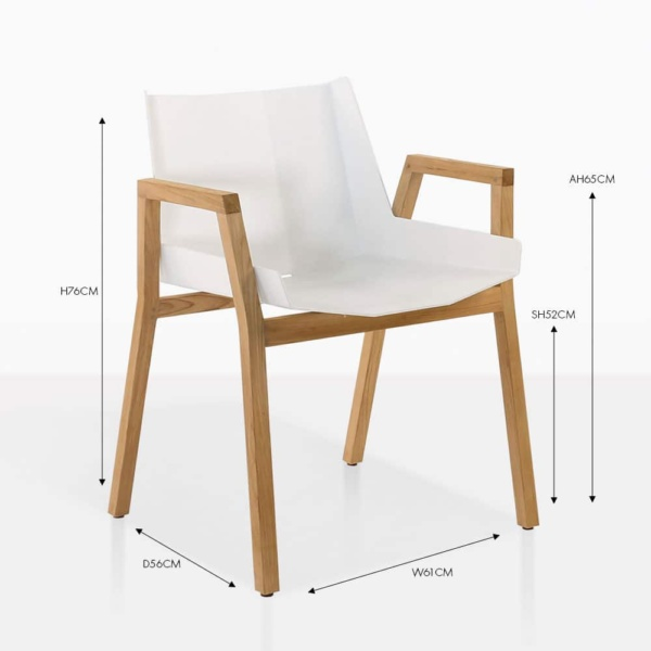 Elements white teak and aluminium dining arm chair