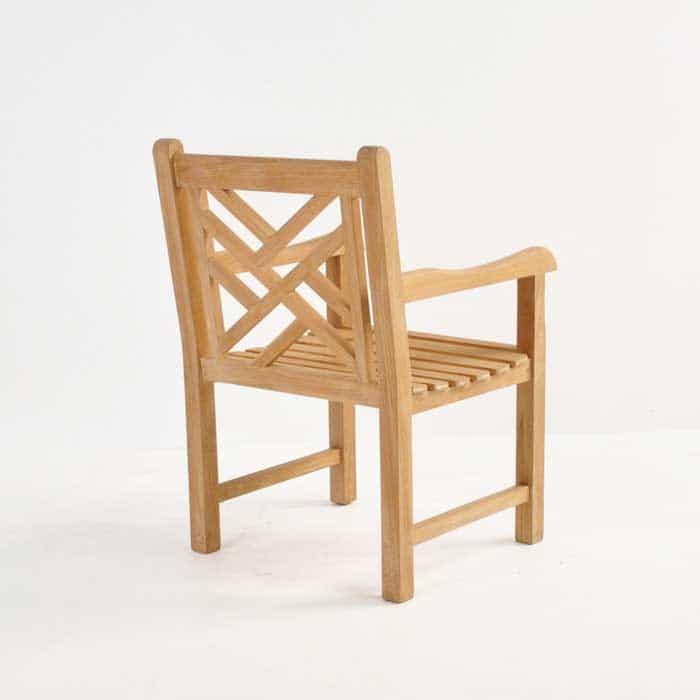 elizabeth teak arm chair back angle view