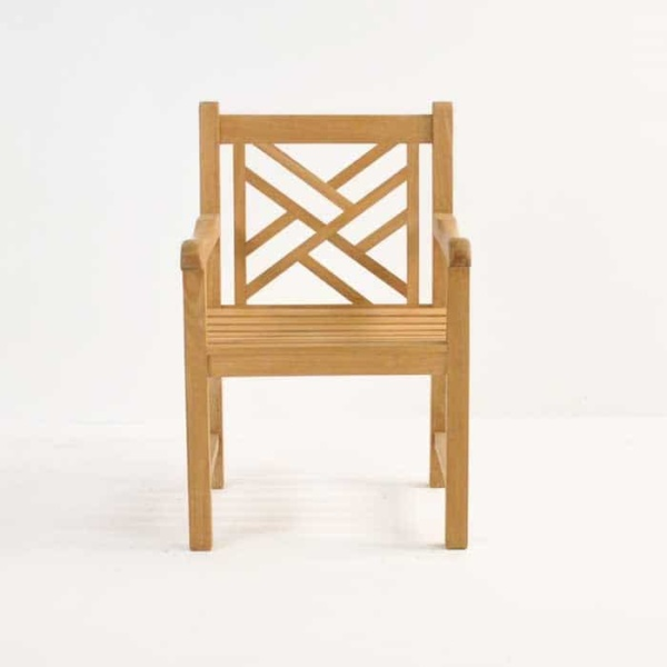 elizabeth teak arm chair front view