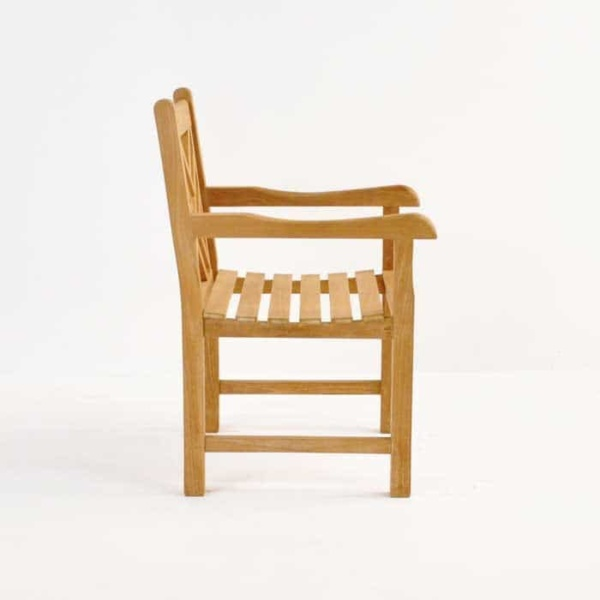 elizabeth teak arm chair side view