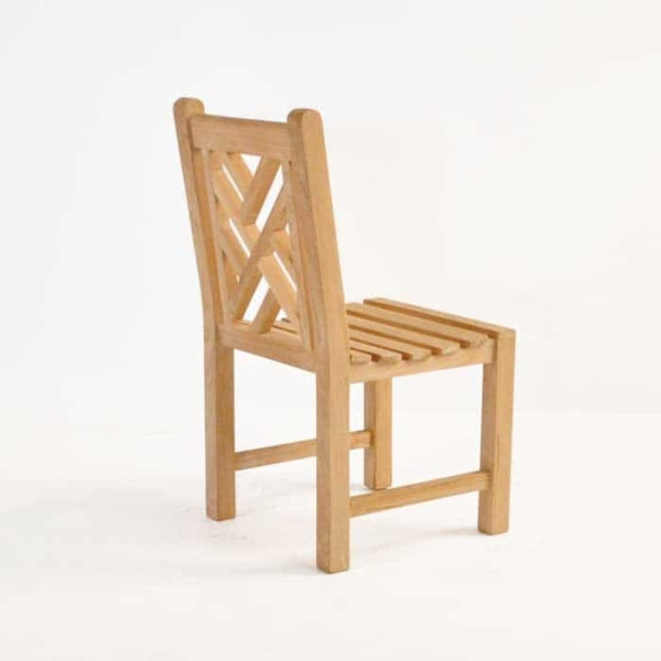 elizabeth teak side chair back angle view