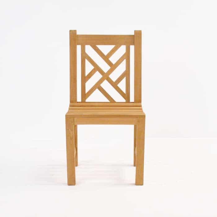 elizabeth teak side chair front view