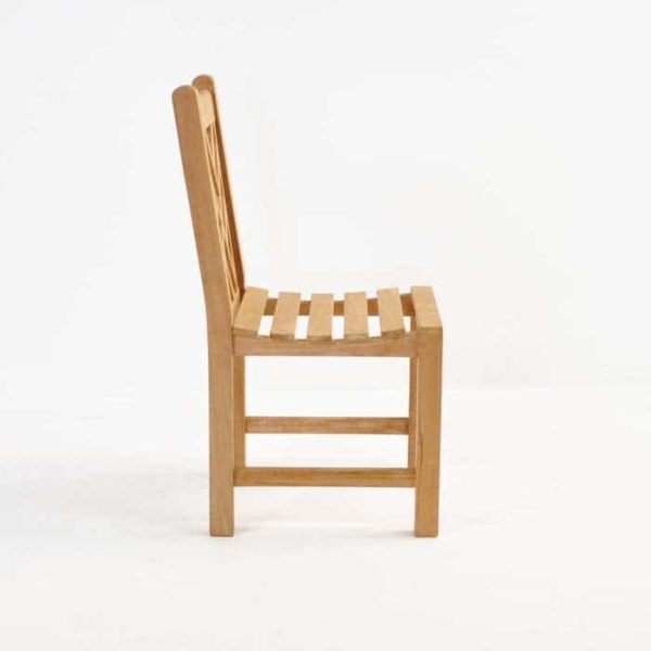 elizabeth teak side chair side view