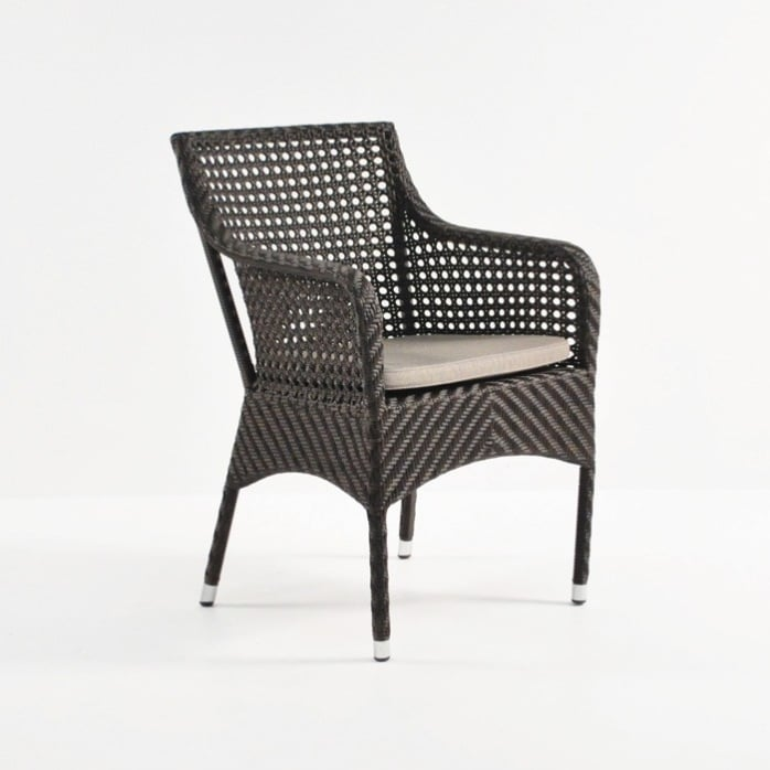 ellen wicker arm chair in java