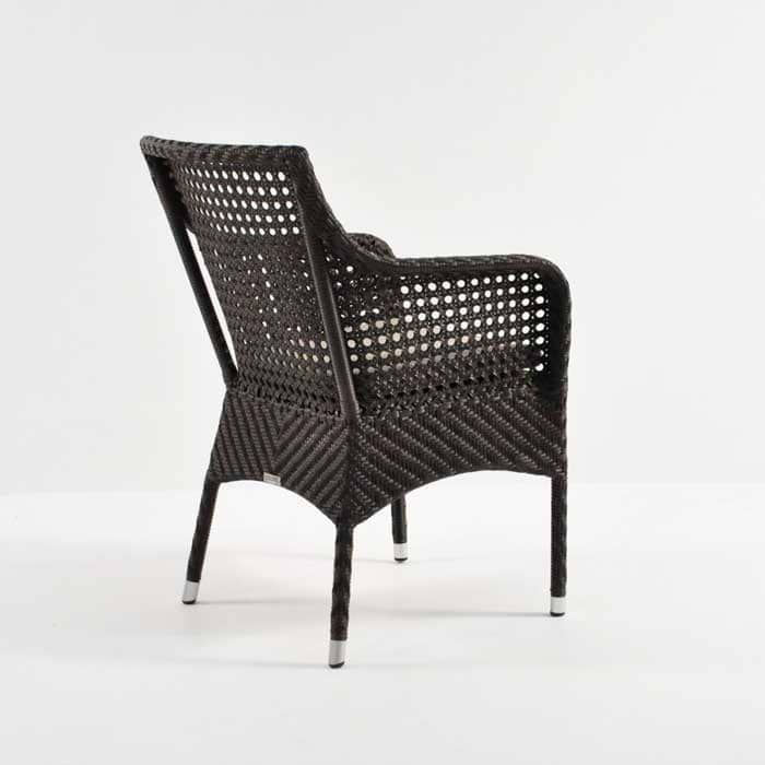 ellen wicker arm chair in java back angle view