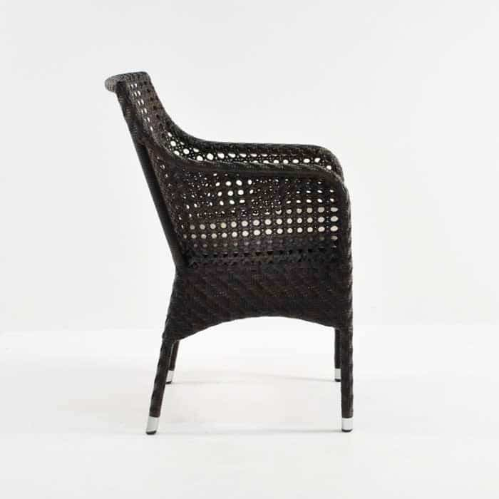 ellen wicker arm chair in java side view