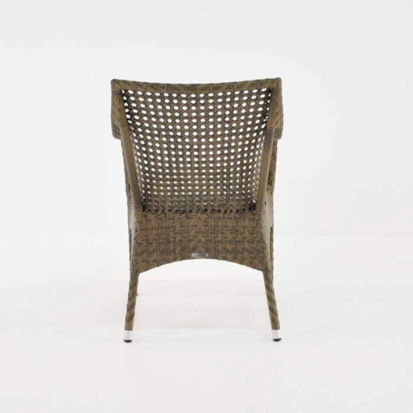 ellen wicker arm chair in sand colour rear view