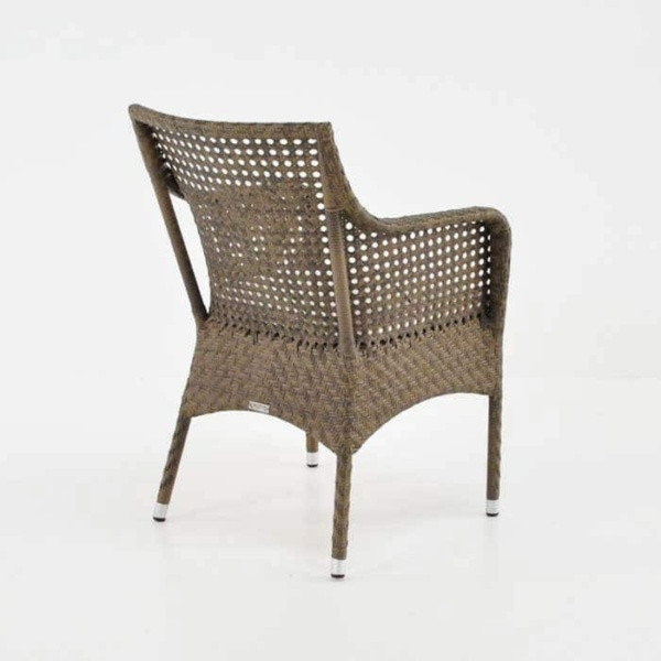ellen wicker arm chair in sand colour back angle view