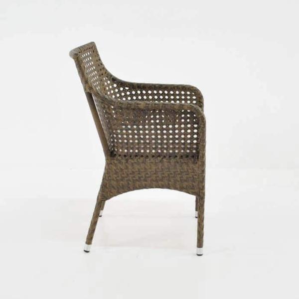 ellen wicker arm chair in sand colour side view