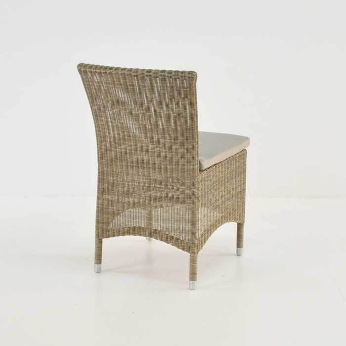 wicker outdoor dining side chair back view