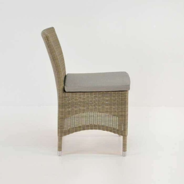 wicker outdoor dining side chair side view