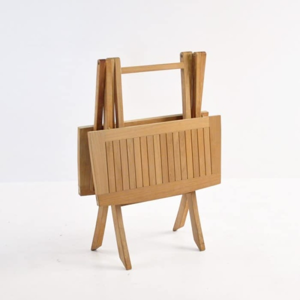 Square Teak Folding Bag Table (Dining)-1175