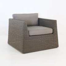 Giorgio Outdoor Wicker Club Chair Kubu angled view