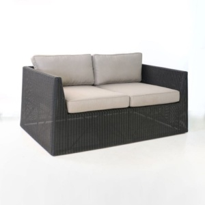 Giorgio Outdoor Wicker Loveseat Black angled view