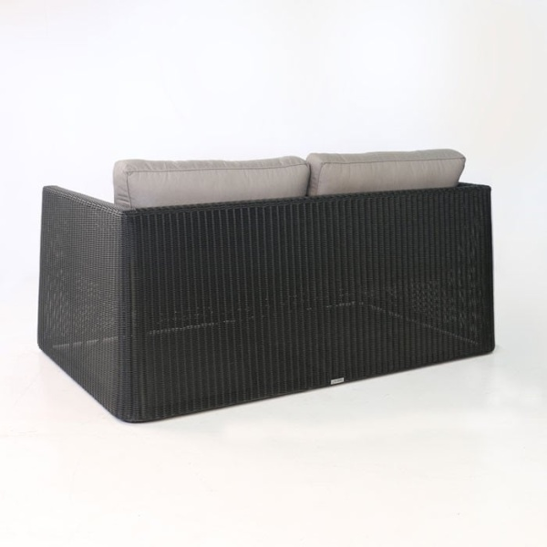 Giorgio Outdoor Wicker Loveseat Black back view