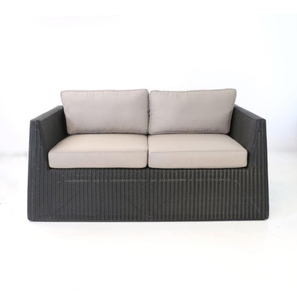 Giorgio Outdoor Wicker Loveseat Black front view