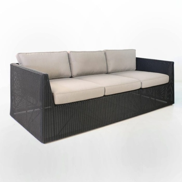 Giorgio Outdoor Wicker Sofa Black angled view