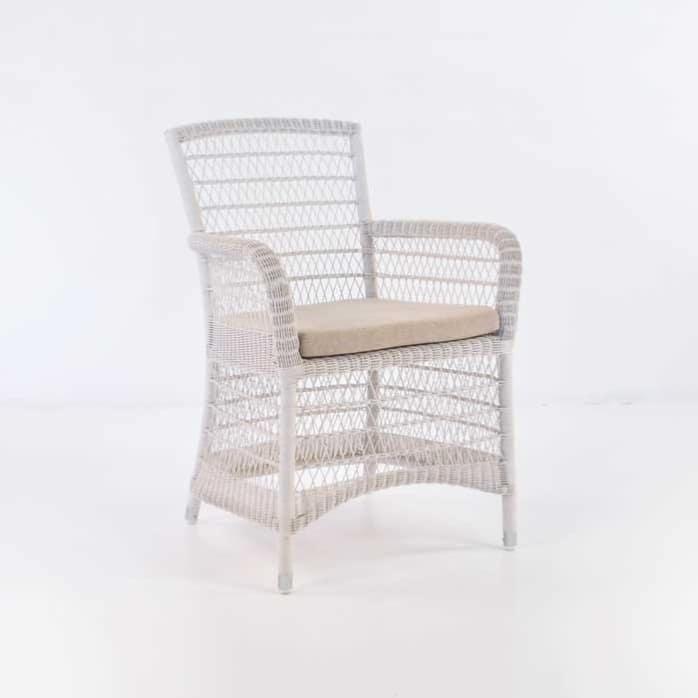 Hampton Wicker Dining Arm Chair (Chalk)-0