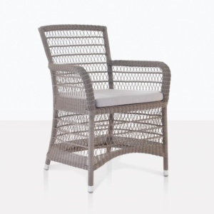Hampton wicker outdoor dining chair pebble