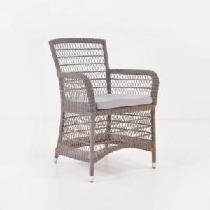 Hampton Wicker Dining Arm Chair (Pebble)-0