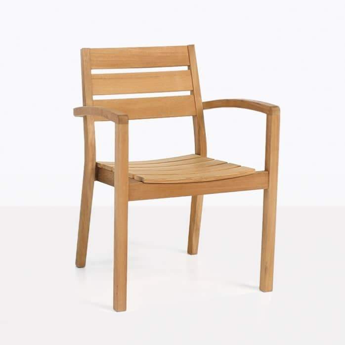 Horizon Teak Stacking Dining Arm Chair-0