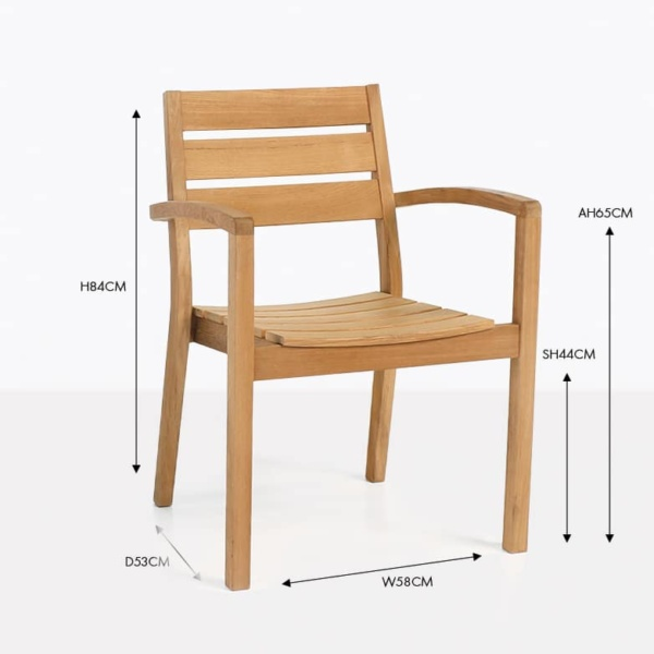 horizon teak wood arm dining chair