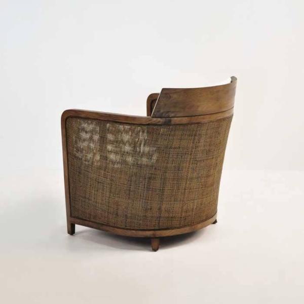 indoor wicker chair back view