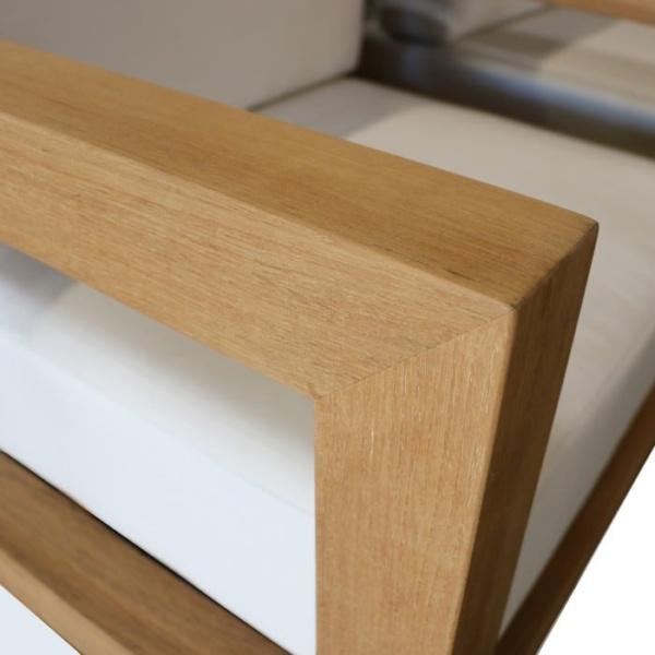 ibiza teak club chair closeup view