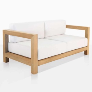 ibiza outdoor loveseat teak angle