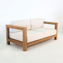 ibiza teak loveseat with sunbrella cushions
