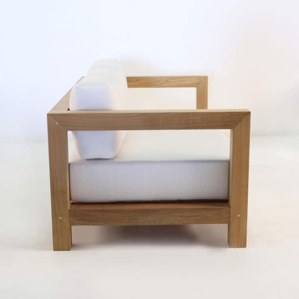 ibiza teak loveseat side view