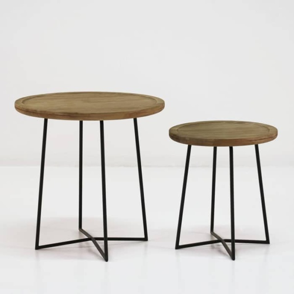 Iron Reclaimed Teak Side Tables-819