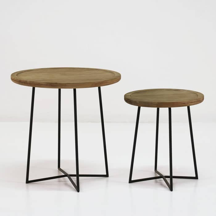 Iron Reclaimed Teak Side Tables-819