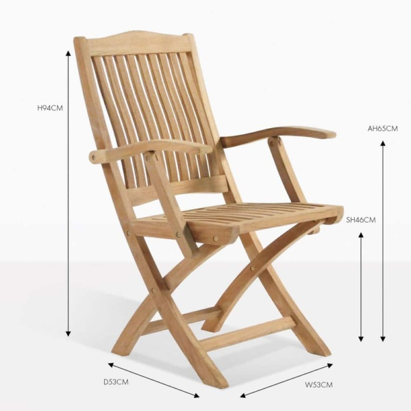 Kensington teak folding arm dining chair