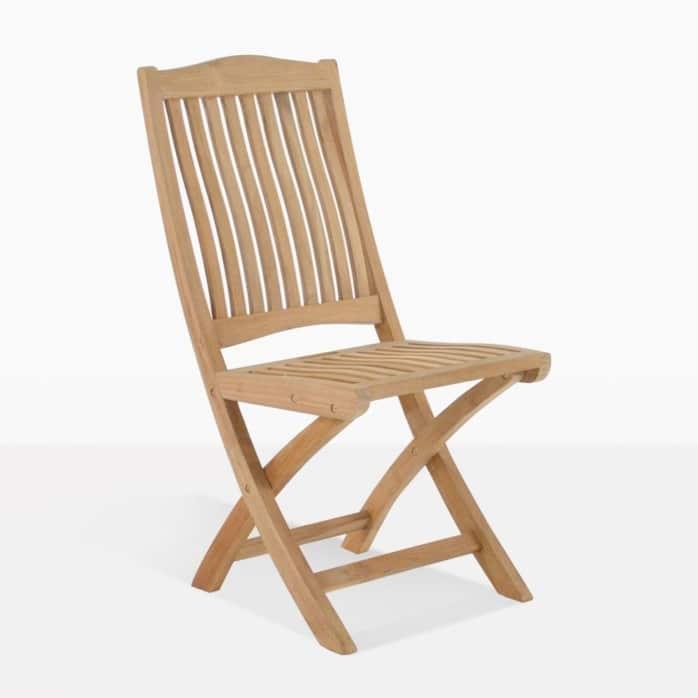 Kensington side teak outdoor chair angle