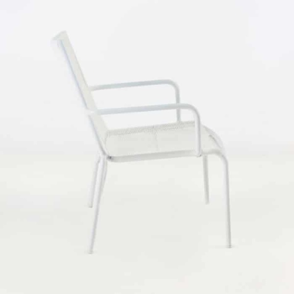 Leo Outdoor Relaxing Wicker Chair (White)-1060