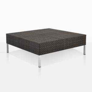 Madison black outdoor wicker coffee table angle