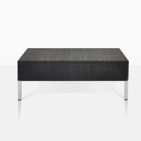 Madison black outdoor wicker coffee table straight