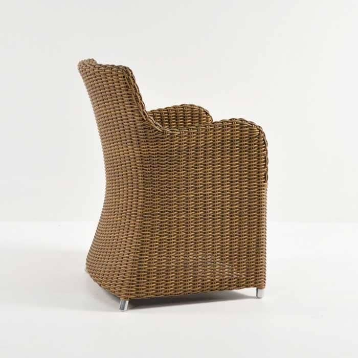 moni outdoor wicker dining chair back view