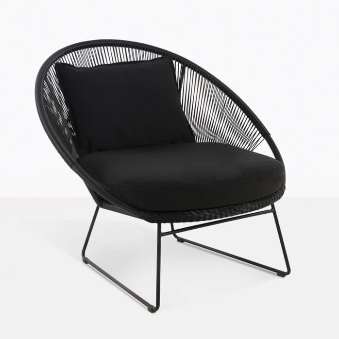 Natalie Black Deep Seat Outdoor Relaxing Lounge Chair