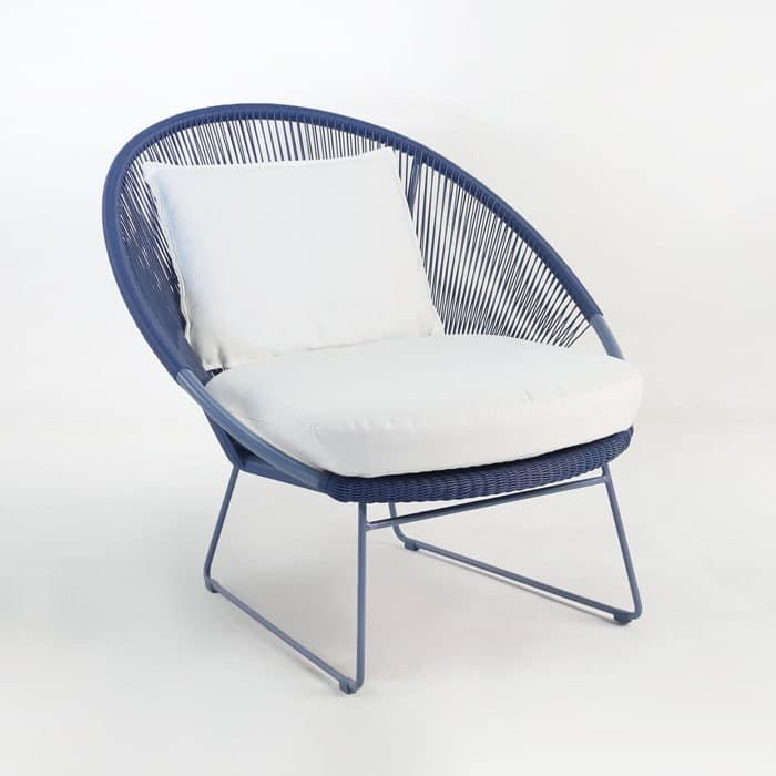Natalie Outdoor Relaxing Blue Lounge Chair Design