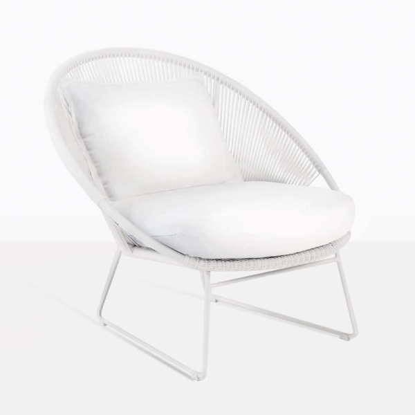 Natalie White Wicker Relaxing Chair With Cushions
