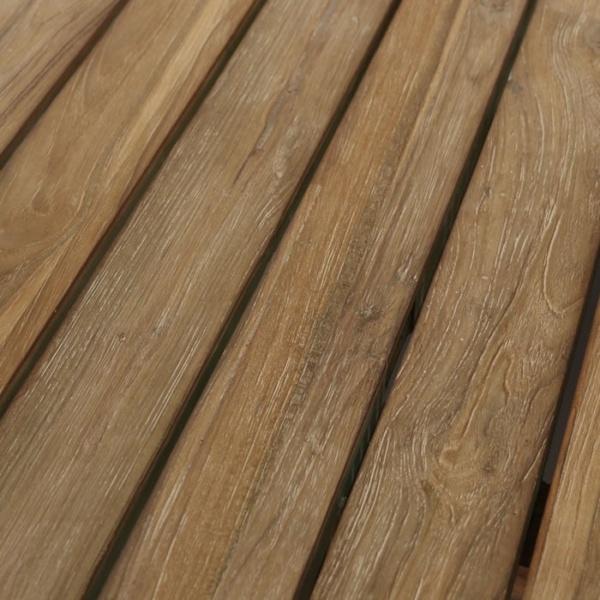 reclaimed teak dining table closeup
