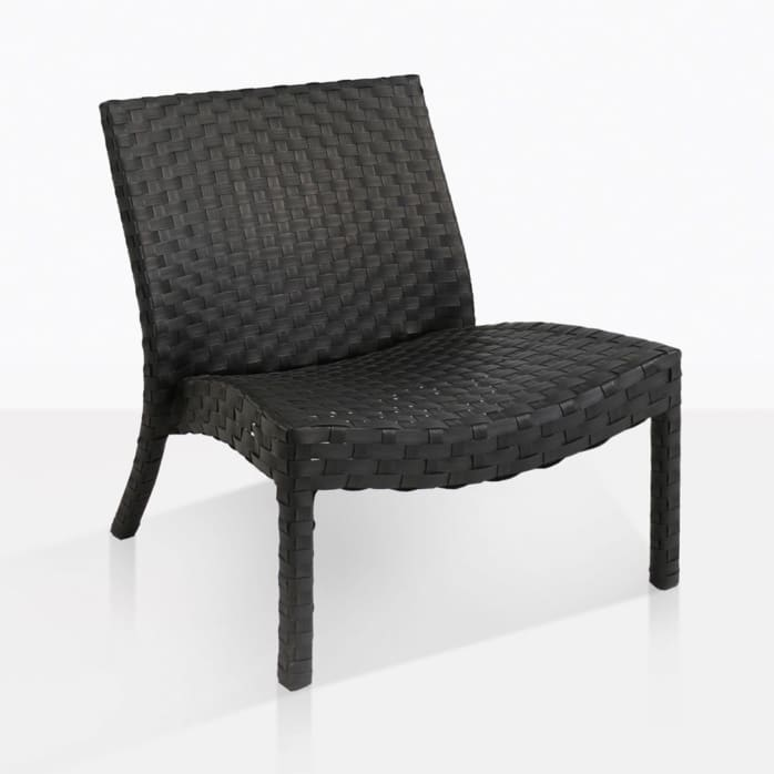 noir outdoor relaxing wicker chair angle