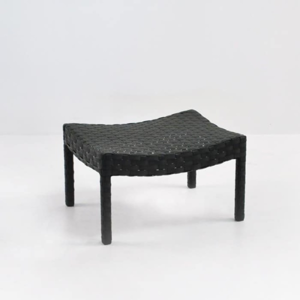 Outdoor Wicker Ottoman black