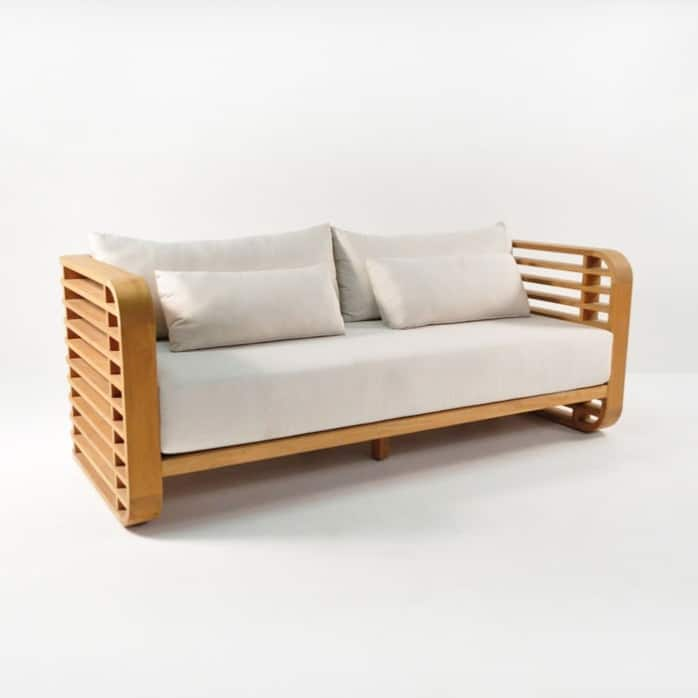 ocean teak sofa with sunbrella cushions
