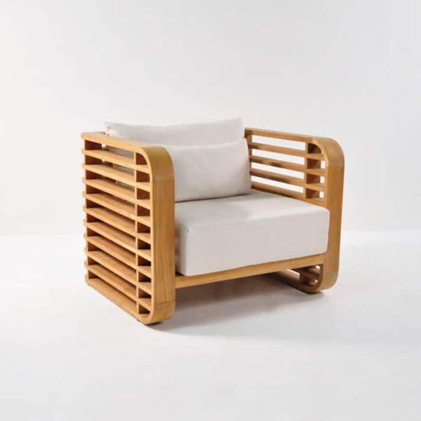 ocean teak club chair with sunbrella cushions